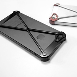 The RADIUS iPhone 5 and 5s bumper consists of the corner modules and the X frame that holds them together.