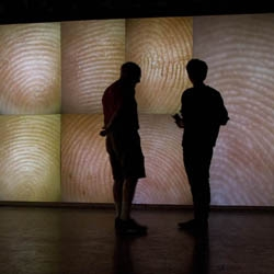 Rafael Lozano-Hemmer's installation 'Pulse Index' creates a horizon of skin based on the participants' fingerprints, via a custom-made sensor that pulsate to their heartbeat.