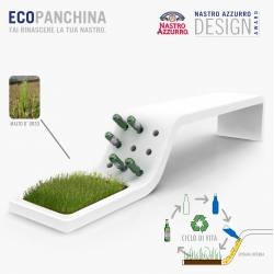 """Ecopanchina  has won the prize """"the best readymade of the bottle"""" for the Nastro Azzurro Design Competition celebrated in Milan. It´s a poetic concept about the  beer´s  life cycle."""