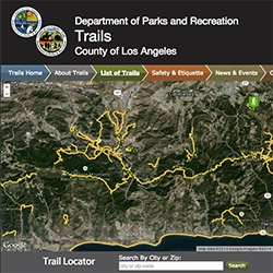 Los Angeles County Trails - finally a nice easy way to search and view the various trails! Also easy guide to see which are dog friendly.