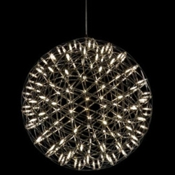 Raimond Light by Raimond Puts is a made of steel wire and LEDs. Light and transparent. For moooi.