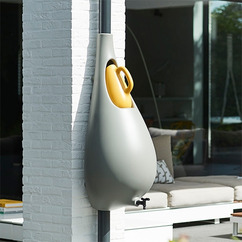 Raindrop for Elho. A completely redesigned version of the Raindrop rain barrel by Dutch designer Bas van der Veer was unveiled at garden fair GAFA in Cologne this week.