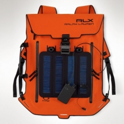 Ralph Lauren has launched a collection of waterproof bags, one of which features a solar panel to charge your mobile device.
