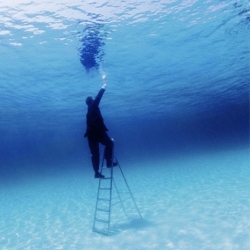 """""""Rational Exploration of the Undersea"""" photo series by Philippe Ramette, who  turns his self portraits into surreal situations."""