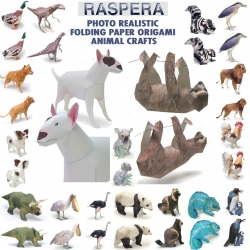 Need a little something to do on a rainy day? How about folding 100 photo realistic paper origami animals? These Rasperas (rasterized peramodels) from japan are downloadable paper crafts.