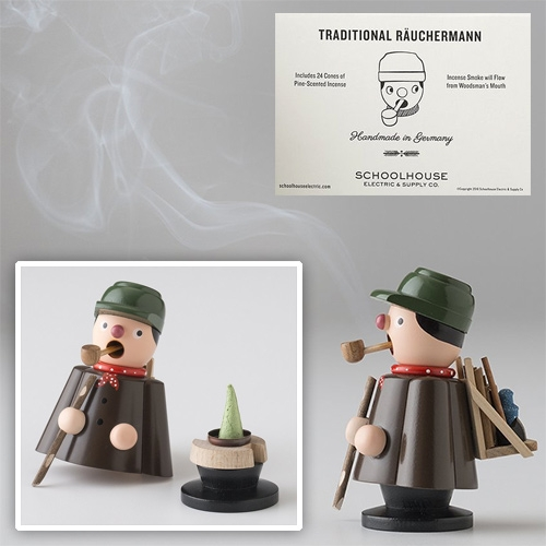 School House Electric's Woodsman Incense Smoker Set - their take on the traditional german Räuchermann.