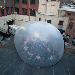 Raumlabor´s inflatable structure, the Spacebuster, is currently moving around New York hosting community events.