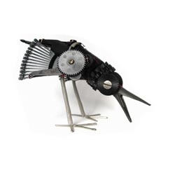 Robot-like animal sculptures out of broken electronics and machines by Ann Smith.