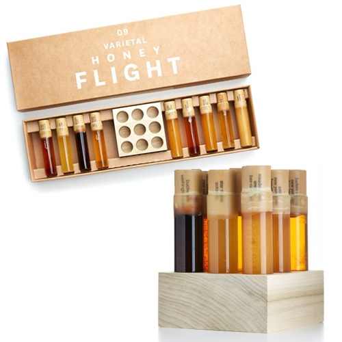 Bee Raw Varietal Honey Flights. Vials hand-corked and sealed with bees wax, then packaged with a beautiful, handcrafted oak block in signature gift box.