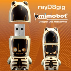 Ooooh RayD8 my favorite little glow in the dark mimobot is back in a special colorway for halloween, and limited to 200 8gig pieces!