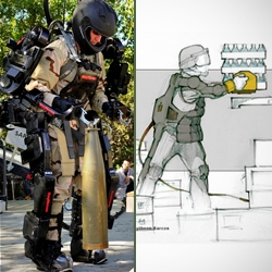 Raytheon's 'XOS 2' exoskeleton robotic suit videos + photographs and sketches gallery.