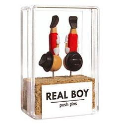 Real Boy Pins by Duncan Shotten, a playful take on pinocchio's every growing nose as a push pin!