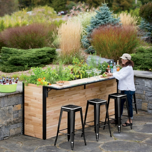 Plant A Bar from Gardener's Supply. Reclaimed wood outdoor bar in cedar butcher block with an elevated planter. Grow herbs, tomatoes, flowers, harvest a fresh sprig as you relax at the bar.