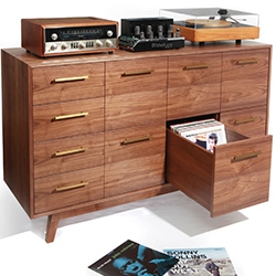 Beautiful mid-century inspired cabinets for vinyl junkies. Offers multiple configurations for just LPs, or a mix of singles, CDs, etc.