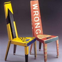 Recycled street-signs furniture by Rhode Island Artist Boris Bally