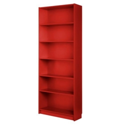 Needed a lot of quick affordable bookshelves this weekend ~ and on unexpected finds, the classic IKEA Billy bookshelves in RED are stunning ~ such a great shade in person! And only $59... too bad no extensions in red!