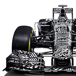 The 2015 Red Bull RB11 Formula 1 car debuted at Jerez in Spain with a black and white camouflage special test livery. It is intended to hide design features from their competition during this early R&D phase of the season.