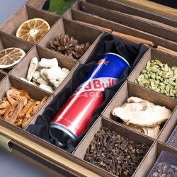 To create and produce an engaging, interactive sampling tool. Beautifully handmade, the show cases contain the 17 key/natural ingredients that make up the Red Bull Cola taste.
