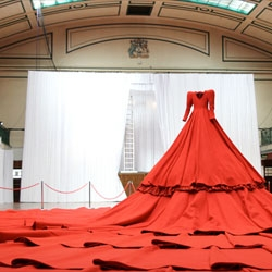 Reddress, installation and performance by Aamu Song at York Hall, Bethnal Green as part of the London Design Festival.