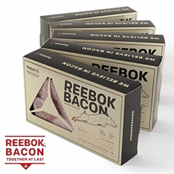 Reebok does BACON. Apparently appealing to the paelo diet crossfitters...