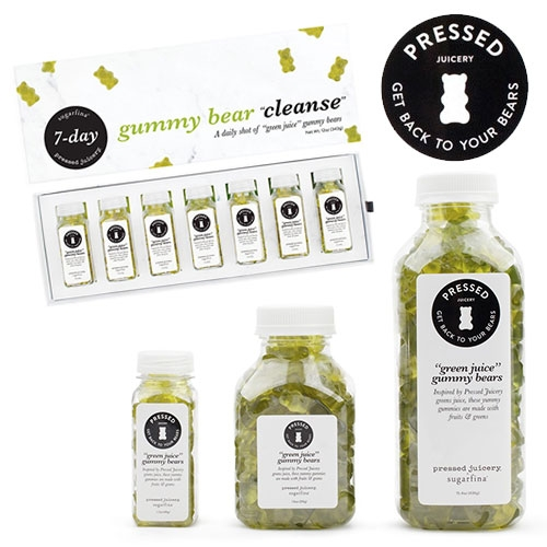 Sugarfina x Pressed Juicery Green Juice Bears. Yes gummy bears... even a 7 day green juice bear cleanse! From april fool's joke to reality. Made with apple, lemon, ginger, and greens.