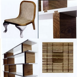 Reeves Design... beyond the bed in 4482, i love the mixes of teak & porcelain, dovetailing & shelving, cabriole legs & rattan