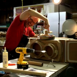 Time Lapse Video of Kiel Johnson's Cardboard Sculpture of a Twin Lens Reflex Camera made strictly from cardboard, hot glue, and tape.