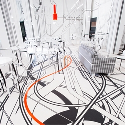 'Nothing Happens for a Reason' at Logomo Café designed by Tobias Rehberger and Artek.