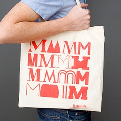 The 'mmmm' tote bag for Remedy Quarterly by Aaron at Friends of Type.