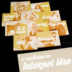 Andy Babb sent over some very fun New Year's Resolution cards ~ with various cliche topics... and hi-res and low-res versions of each on the back! From Internet Use to Fidelity to Smoking to Exercise and more...