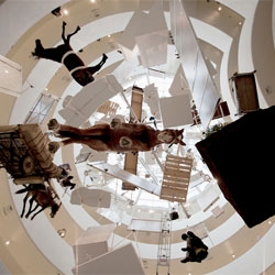 Maurizio Cattelan's 'All' retrospective at the Guggenheim Museum, New York.