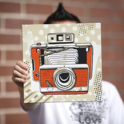Jeremy Kennedy's small-sized canvas paintings of vintage cameras in the 'Luvs' series . This one is of the Polaroid 180...