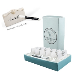 Place Tile ~ like place cards, but ceramic tile you can write on with dry erase markers... reusable, and gorgeously gift wrapped in a tiffany colored box
