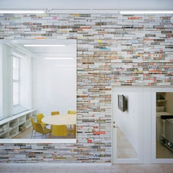 Designed by Elding Oscarson collective, the walls of design agency Oktavilla are made of thousands of magazines.