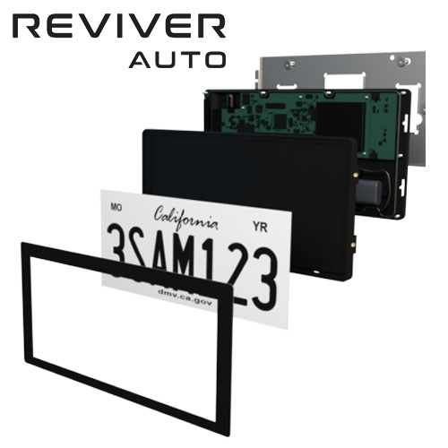 Revier's Rplate Pro transforms the 125-year-old stamped metal vehicle license plate into a cool-looking, multi-functional digital display. Pilot program starting in California.