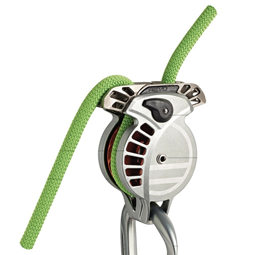 Wild Country REVO - Bi-Directional assisted locking belay device. Its function is independent from the loading orientation of the rope. Irrespective of the situation, an uncontrolled decent will cause the inertia reel to activate, grip the rope and arrest the fall.
