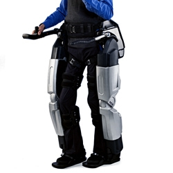 Rex Bionics' 'Robotic Exoskeleton' enables wheelchair user Hayden to stand and walk.