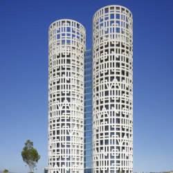 """These are the first pictures of the Torres de Hercules, a new project in the Andalusia region of Spain by architect Rafael de la Hoz. The facade features the local legend """"Non Plus Ultra"""""""
