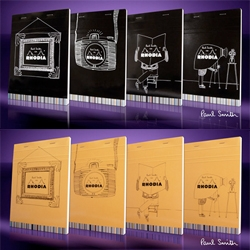 A fan of Rhodia pad, the famous fashion designer, Sir Paul Smith never let the small block of Rhodia leaves him. The limited edition of Paul Smith 'o9 Rhodia Pads came in 2 versions of map coated Rhodia orange and black with 4 different covers...