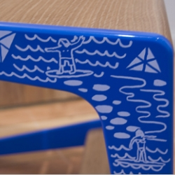 Handmade Rian RTA Artist Series stool - First in series features Mike Perry's surf-themed design. Perry illustrated 20 stools with 15% of proceeds going to Surfrider Foundation.