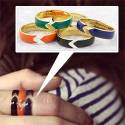 Brandy Pham Ribbon Cut Rings ~ adjustable, gold plated brass with hand painted enamel.