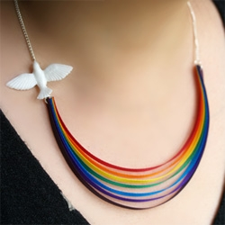 "Mixko ""Here Comes the Sun"" necklace ~ with a dove leading a rainbow across your chest, and the last crystal raindrop on your back... so lovely!"