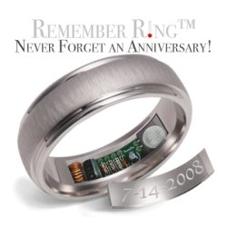 Never forget another anniversary with a Hot Spot ring.  It heats up to a temperature of 120º F on pre-determined date.