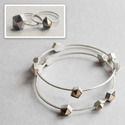 "Pretty ""Fake Crystals"" collection by wsake. rings + bracelets + ear studs, handmade in 925 silver, brass, vintage ebony."
