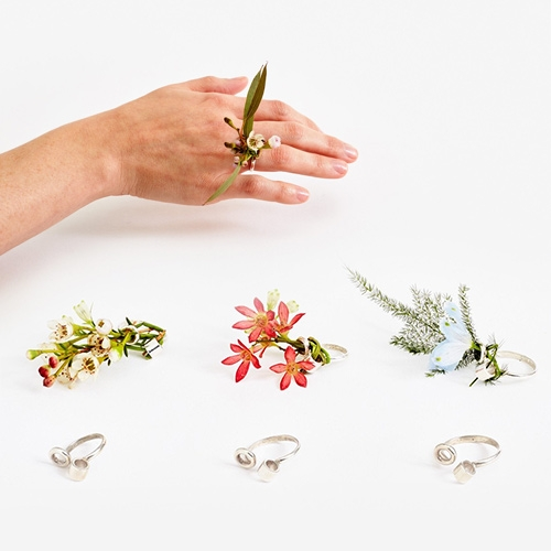 Areaware Ikebana Ring - a sterling silver ring that holds a small bouquet of wildflowers. Designed by Gahee Kang for whatnot, a class at the School of the Art Institute of Chicago.
