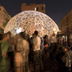 Storefront For Art and Architecture Gallery teamed with Abitare Magazine  to bring a  version of the ring dome to Milan for the Salone del Mobile. This new dome will use 1,500 hula-hoops and 12,000 zip-ties. HULA HOOPS !!