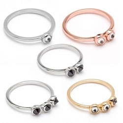 Lovely Alex & Chloe's Kate Rings - little inverted diamond rings in gold, silver, or rose gold, with 1, 2, or 3 diamonds in black or white diamonds.