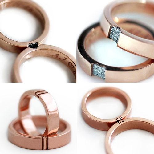 CADI Jewelry Wedding Band Sets - interesting idea where when put together they form initials, hearts, etc.