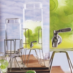 The Geneva Beverage Dispenser by Roost - modern jars fitted with stainless steel spigots.