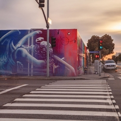 Los Angeles-based streetartist RISK paints new Murals at Sylvester Stallone's former Santa Monica Studio.